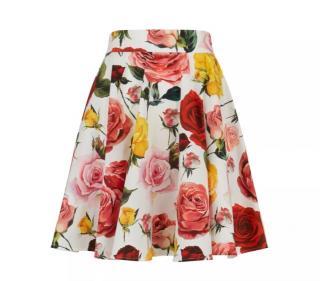 Dolce & Gabbana White Rose Print A-Line Skirt