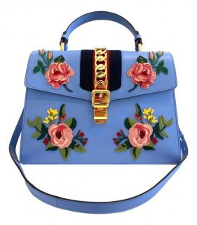 Gucci Blue Embroidered Sylvie Top Handle Bag