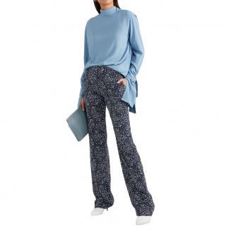 Stella McCartney Star Print Wide Leg Silk Pants