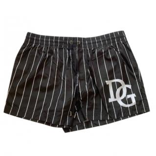 Dolce & Gabbana Black & White Striped Swim Shorts
