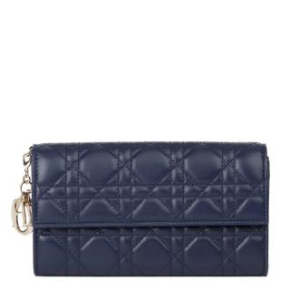 Christian Dior navy lambskin Lady Dior Wallet