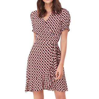 DVF chainlink print crepe dress