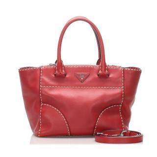 Prada Red Leather Satchel Tote Bag