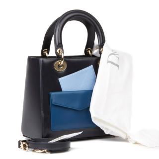 Dior Navy Leather Multi-Pocket Medium Lady Dior Bag