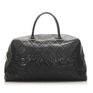 Chanel Caviar Leather Logo Travel Bag