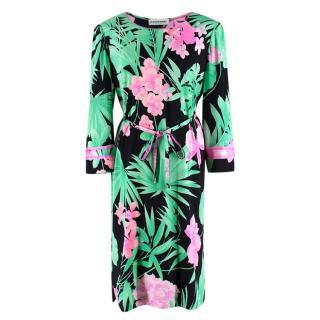 Leonard Paris Floral Textured Knee Length Dress