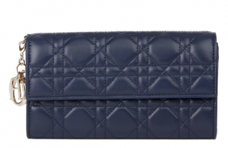 Dior Navy Cannage Leather Lady Dior Wallet