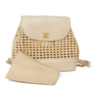Chanel Wicker & Leather Vintage Logo Trim Backpack