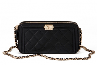 Chanel Quilted Leather Black Double Zip Boy Chain Wallet