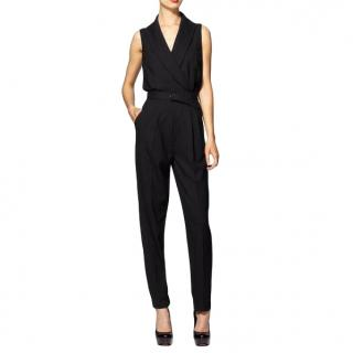 Rachel Zoe Wool Black Tailored Jumpsuit