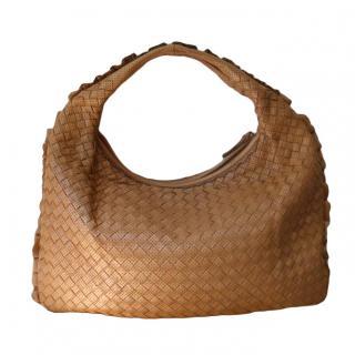 Bottega Veneta Camel Intrecciato Perforated Hobo Bag