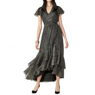 Diane Von Furstenberg Donnie Black & Gold Wrap Dress