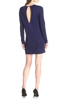 Halston Heritage Women's Long Sleeve Jersey Dress with Keyhole Back