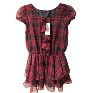 Ralph Lauren Tartan Chiffon Ruffled Kids Dress