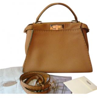 Fendi Tan Two-Tone Medium Peekaboo Bag