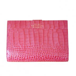 Smythson Pink Croc Embossed Continental Wallet