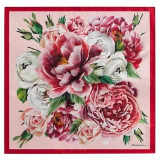 Dolce & Gabbana Pink Floral Print Silk Headscarf