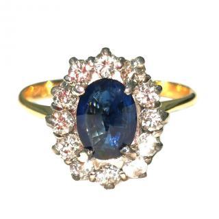 Bespoke 18ct Gold Diamond & Sapphire Cluster Ring
