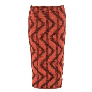 M Missoni Red and Black Zig-Zag Textured Midi Skirt