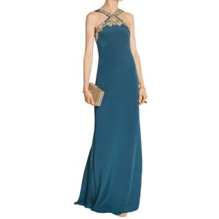 Marchesa Notte Petrol Crepe Silk Embellished Gown