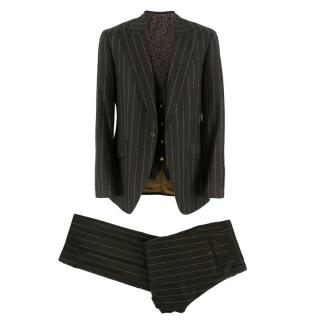 Dolce & Gabbana Brown Wool Pinstripe 3 Piece Suit