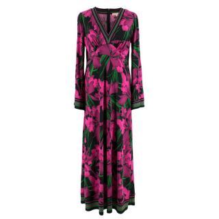 Michael Micahel Kors Purple & Black Floral Print Dress