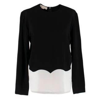 Stella McCartney Black & White Scalloped Top