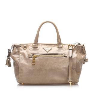 Prada Leather Top Handle Tote Bag