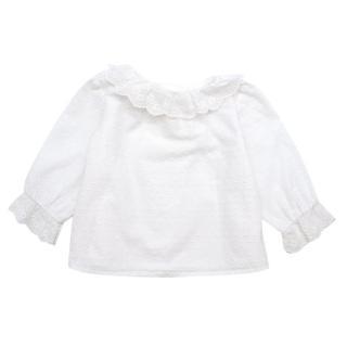 Nanos Baby White Lace Trim Long Sleeve Top