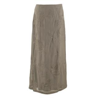Alberta Ferretti Khaki Maxi Silk Skirt