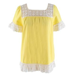One Vintage Crochet Trimmed Yellow Top