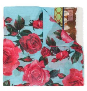 Dolce & Gabbana Silk & Cashmere Blue Tassel Rose Print Shawl