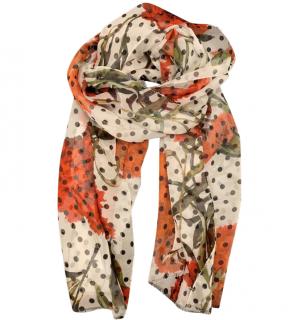 Dolce & Gabbana Floral Print Polka Dot Silk Scarf