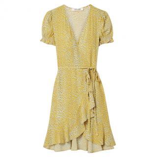 Diane Von Furstenberg Yellow Emilia Wrap Mini Dress
