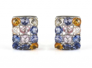 Bespoke White Gold Coloured Sapphire Earrings