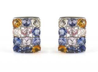 Bespoke White Gold Coloured Sapphire Earrings