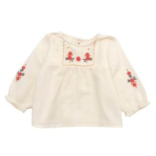 Bonpoint Cream Embroidered Long Sleeved Top