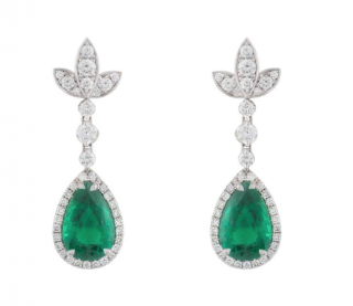 Bespoke White Gold Diamond & Emerald Drop Earrings