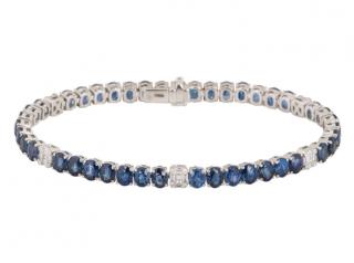 Bespoke White Gold Sapphire & Diamond Line Bracelet