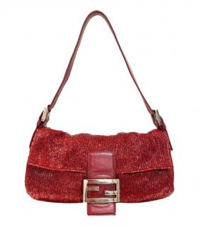 Fendi Red Beaded Baguette Shoulder Bag