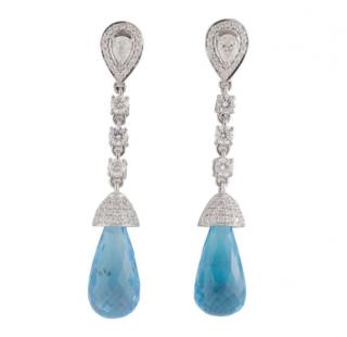Bespoke White Gold Diamond & Topaz Earrings