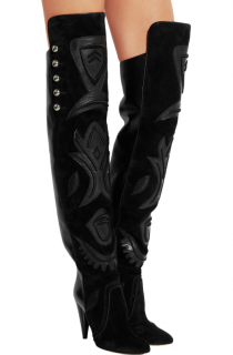 Isabel Marant Black Leather & Suede OTK Boots