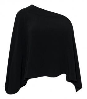 Roland Mouret black one shouldered flared cape top