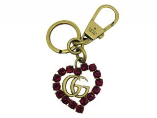 Gucci Red Crystal Heart Key Chain
