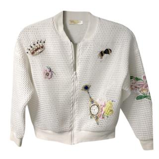 Monnalisa White Perforated Embroidered Jacket