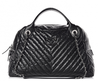 Chanel Aged Calfskin Chevron Large Soft Bowling Bag