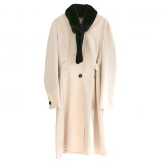 Yves Saint Laurent Stefano Pilati mink collar lightweight ivory coat