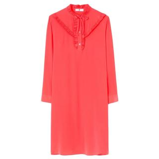 Paul Smith Coral Silk Crepe Shift Dress