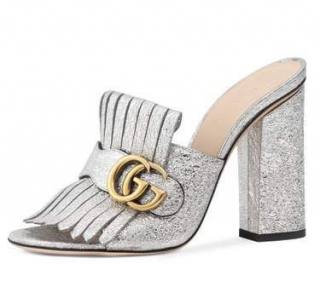 Gucci Silver Marmont Heeled Mules
