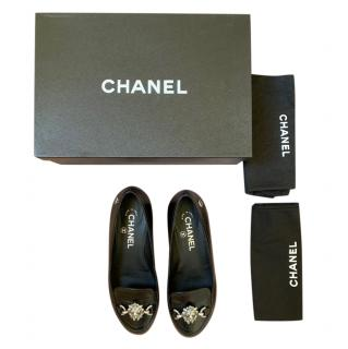Chanel Black Leather Lion Head Ballerina FLats
